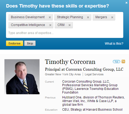 LinkedIn Profile with suggested skills for you to choose