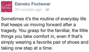 Dansko inserts foot in mouth